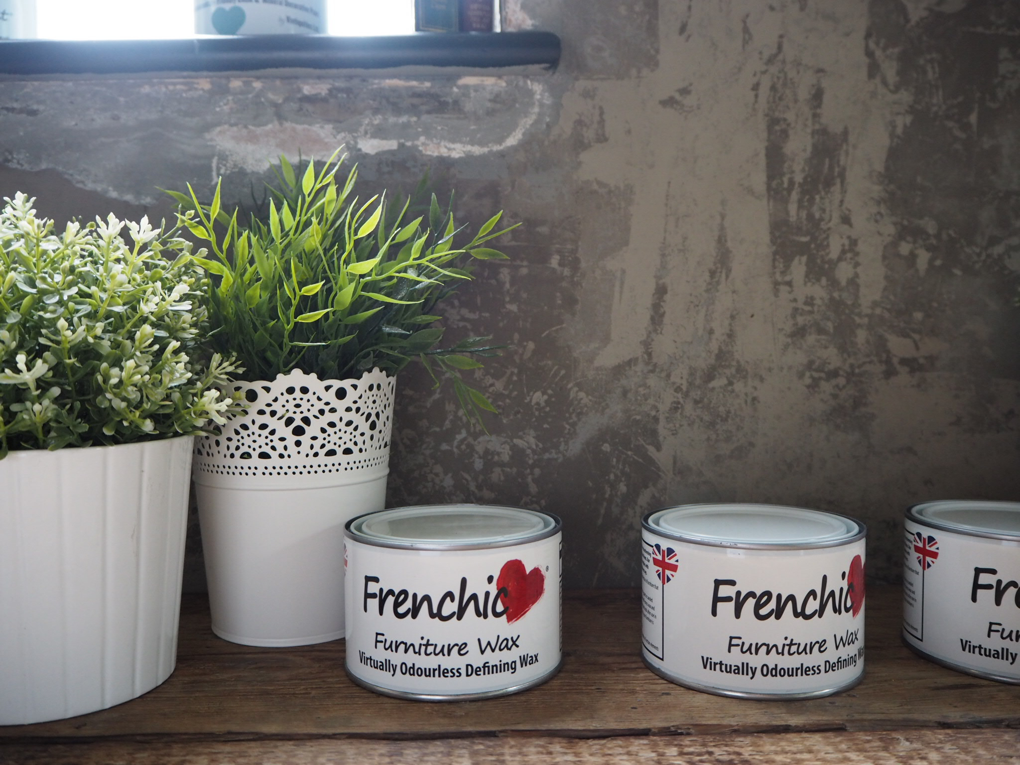 Defining wax, one of the many Frenchic products on display.
