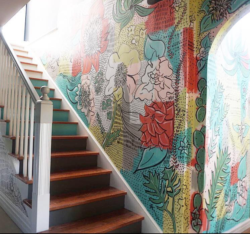 An amazing hand drawn mural by Jen at  Blissfully Eclectic .