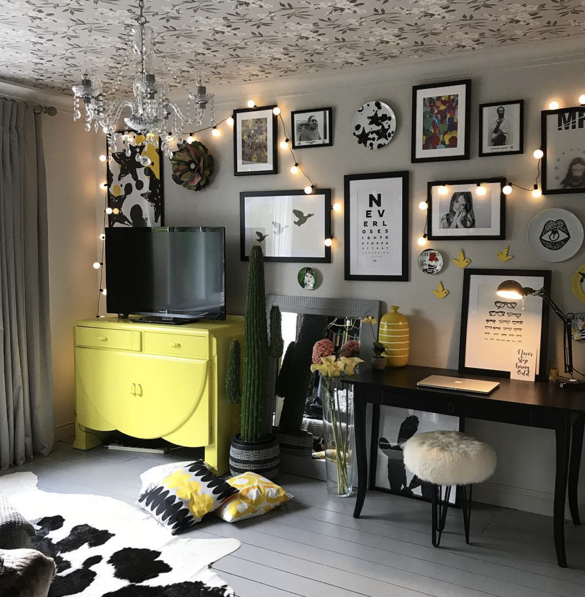 Julia at  Suburban Salon  has given her room a yellow colour pop with this upcycled cabinet. Plus her use of wallpaper on the ceiling gives the whole space an edge.
