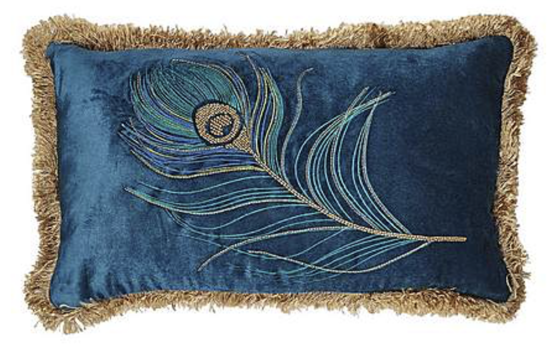 Blue Peacock Fringed Cushion , Dunelm £22