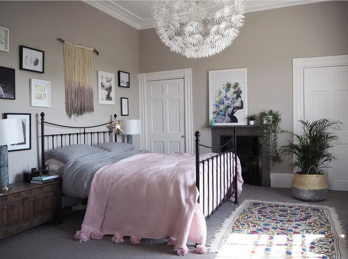 A serene, calming, relaxing tonal bedroom.  Or is it?  No, it isn't.