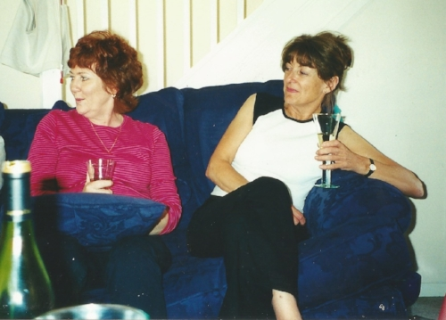 My mum and mother in law, Judith.  The sofa adjusted to a 45 degree angle whenever anyone sat on it.