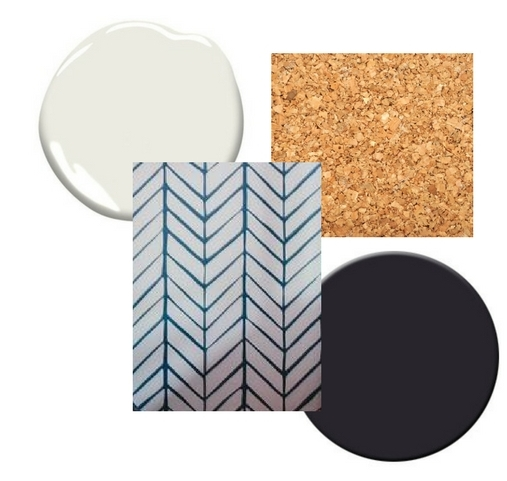 I'll be using white and black paint, chevron or geometric wallpaper and cork tiles.