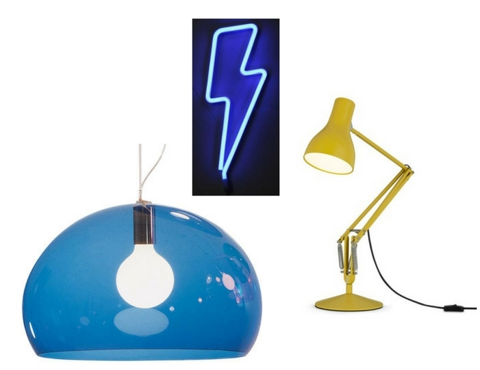 Kartell Fly Lamp , Nest.co.uk;   Neon Bolt , Violet & Thistle;   Anglepoise , Nest.co.uk