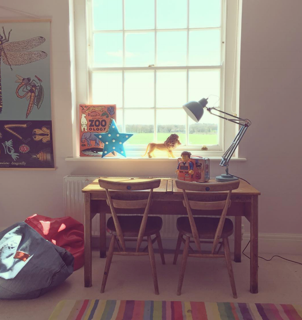 The vintage school desk and Ercol blue spot chairs that my children have all had in their rooms over the years.