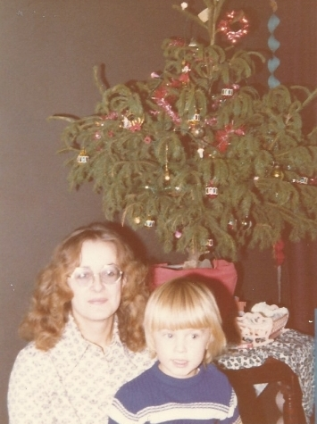 Joe and his mum Judith in front of their tree. I posted this last year but I am still in awe that my mother in law was an early promoter of the Downpipe trend.