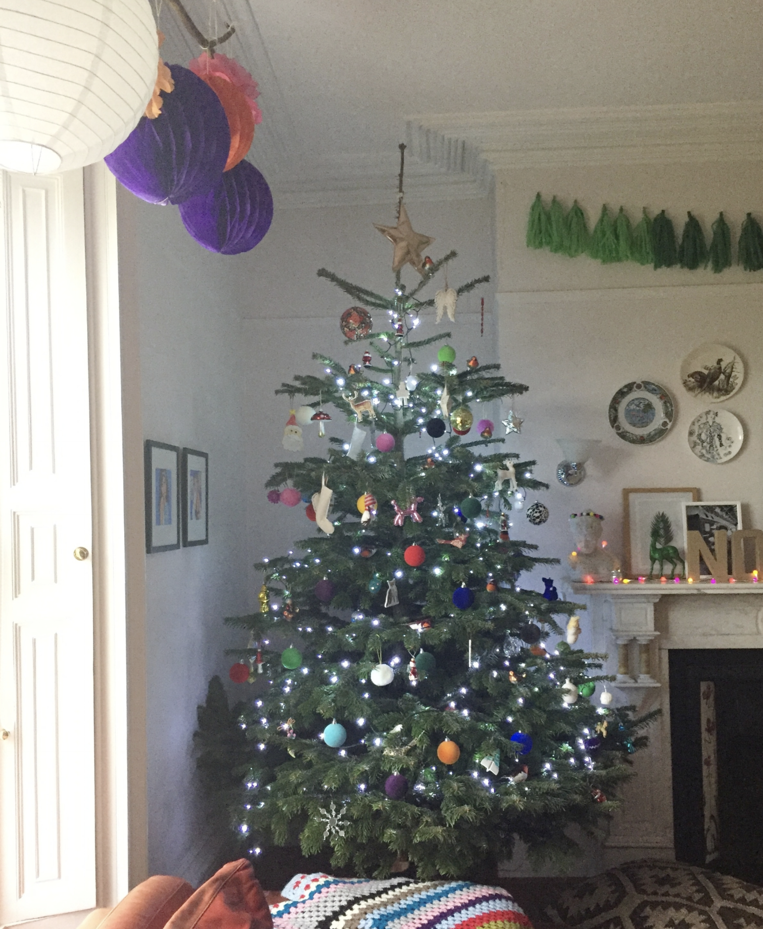 My tree last year. So big the boughs were squashed against the wall and poor lighting distribution. Sub standard, quite frankly.