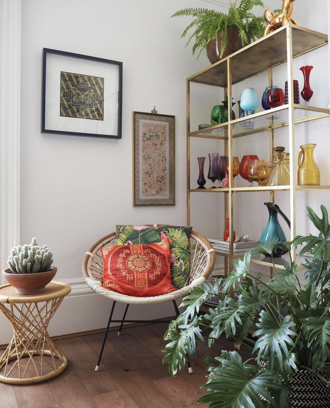 I do like a bit of vintage bamboo. And charity shop glass. And a cactus.