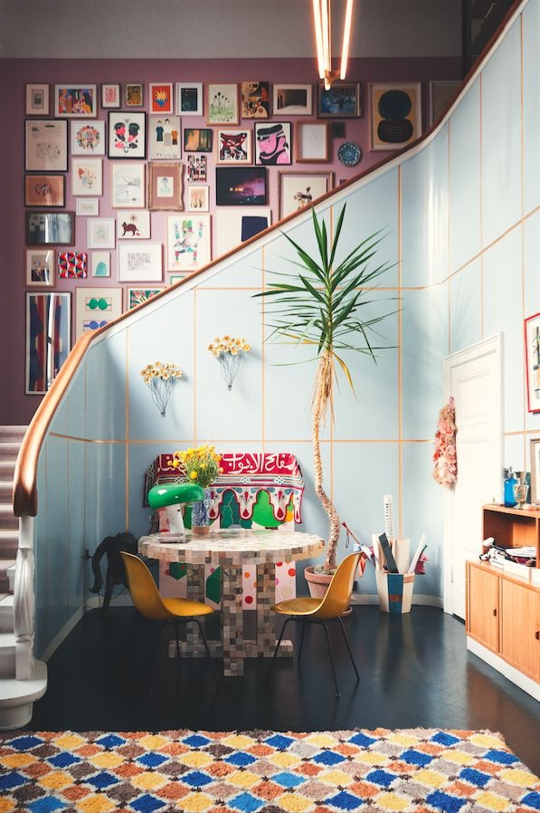 Staircase gallery wall of dreams.  The amazing home of  Barbara Husted Werner  photographed for  Elle Decoration .