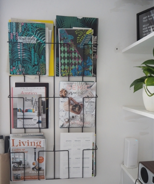 I do like a magazine wall rack.  This one is from La Redoute.