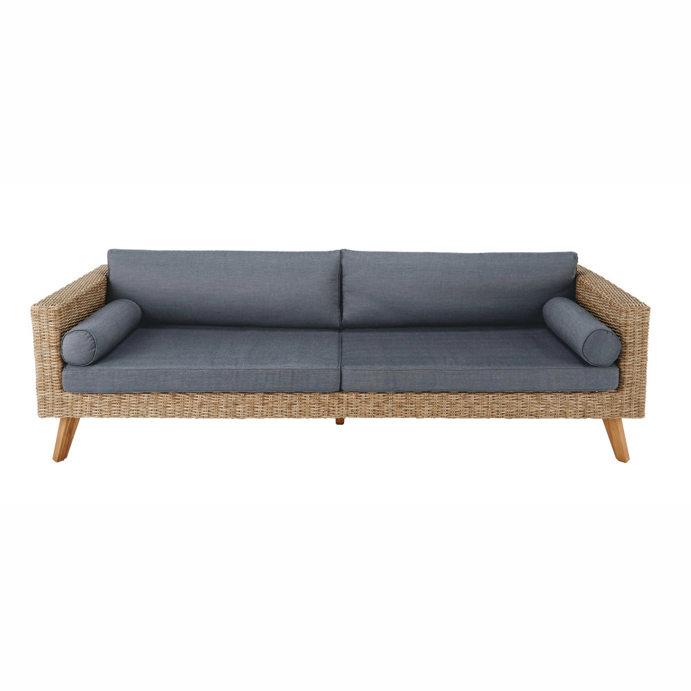 Maisons Du Monde -  Feroe 3/4 seater wicker and canvas sofa £787.50