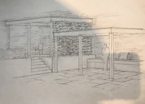 My pergola plans. The top will be for lounging and the bottom will be for dining.