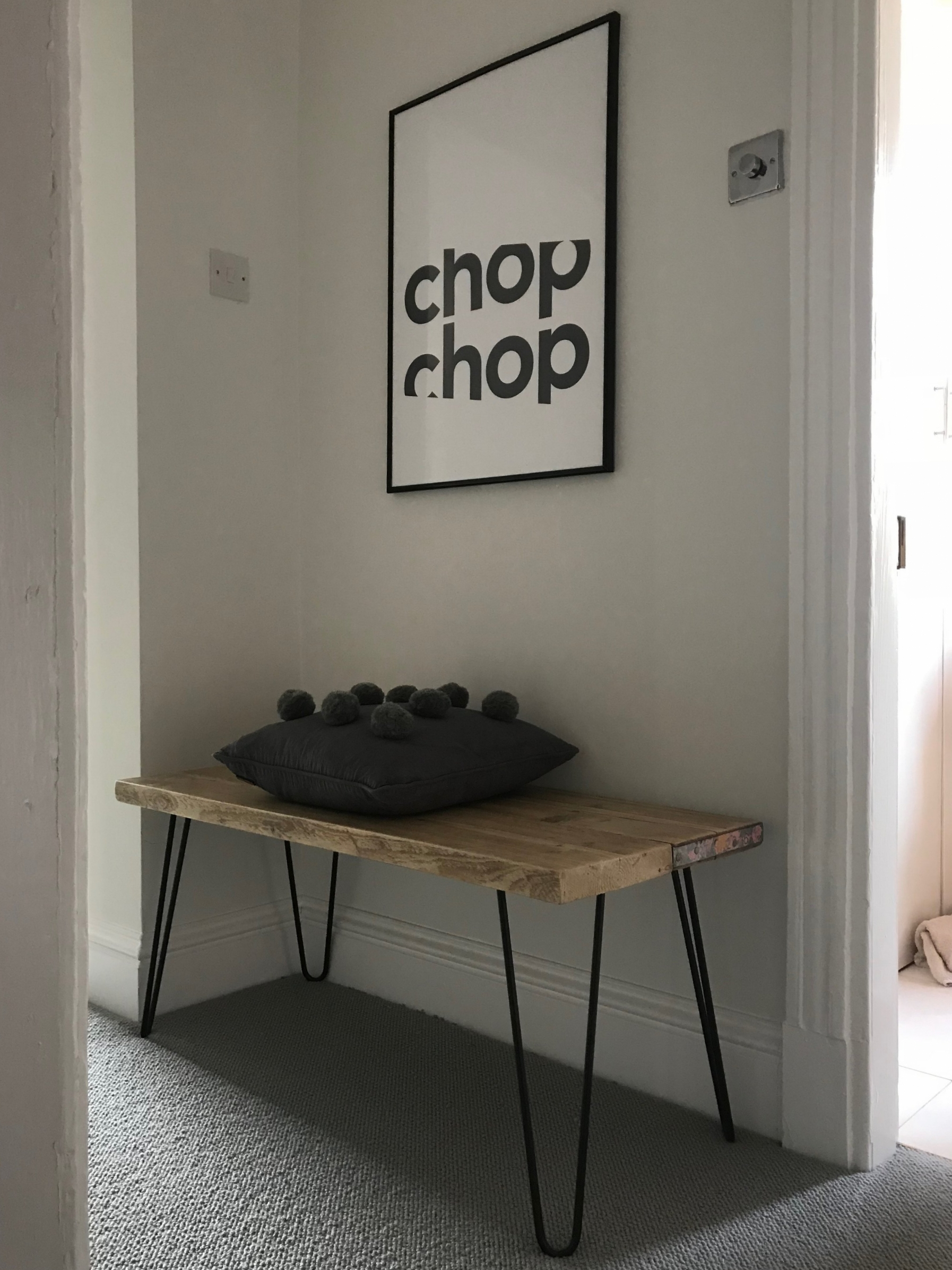 Bench,  Bear & Wolf;  Cushion,  Bamaluz Home ; Print,  Gayle Mansfield Designs