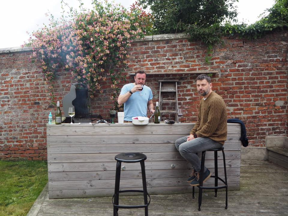Joe in the meat zone with his BBQ companion, James.