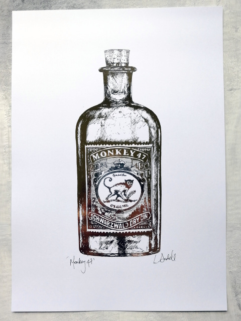 Monkey 47 Gin Bottle Illustration  - £25  White Chalk Studio