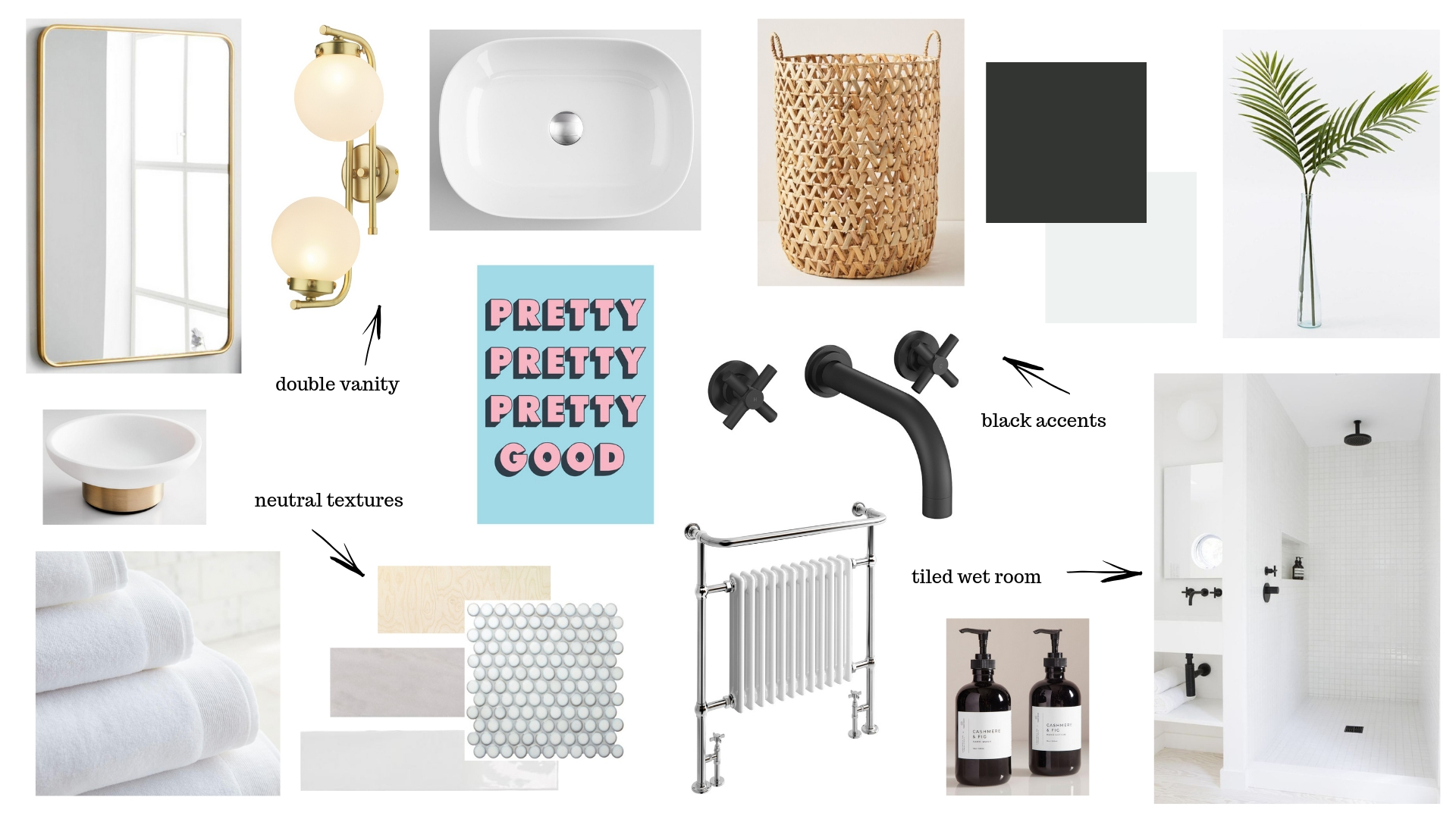 The moodboard for my bathroom. A great way to pull ideas together.