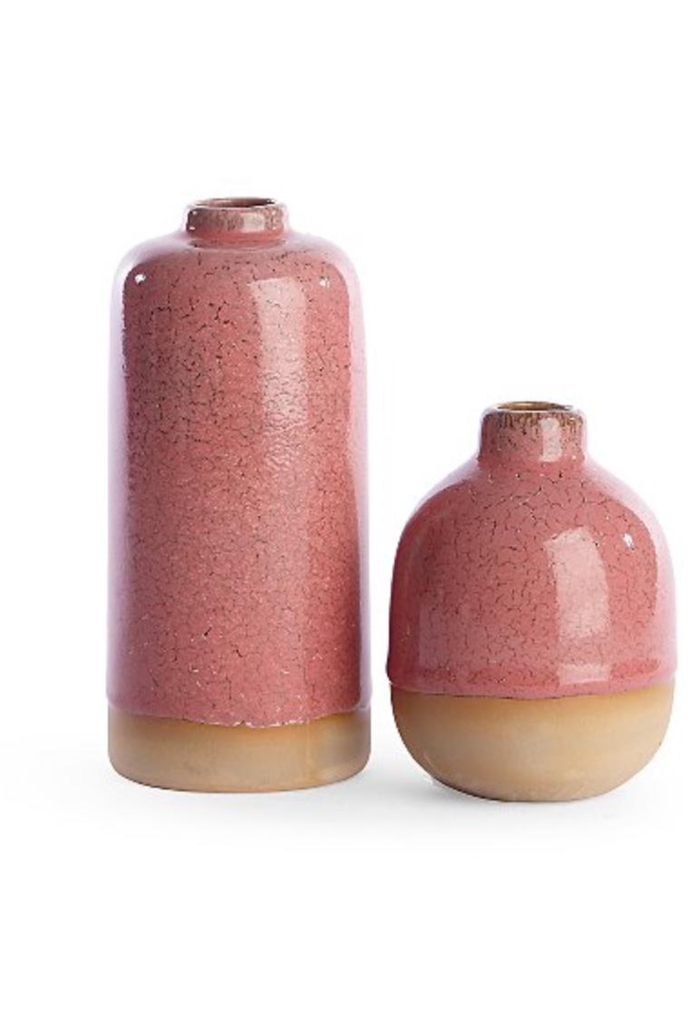 Pink Ceramic Vases x 2 - £7