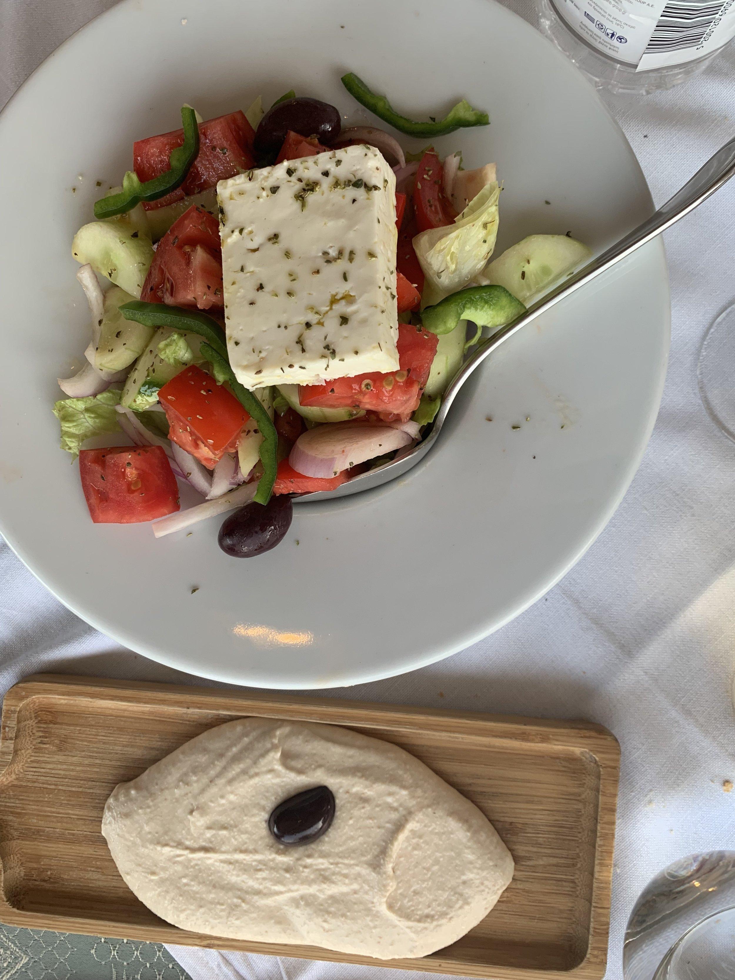 Greek salad and taramasalata.