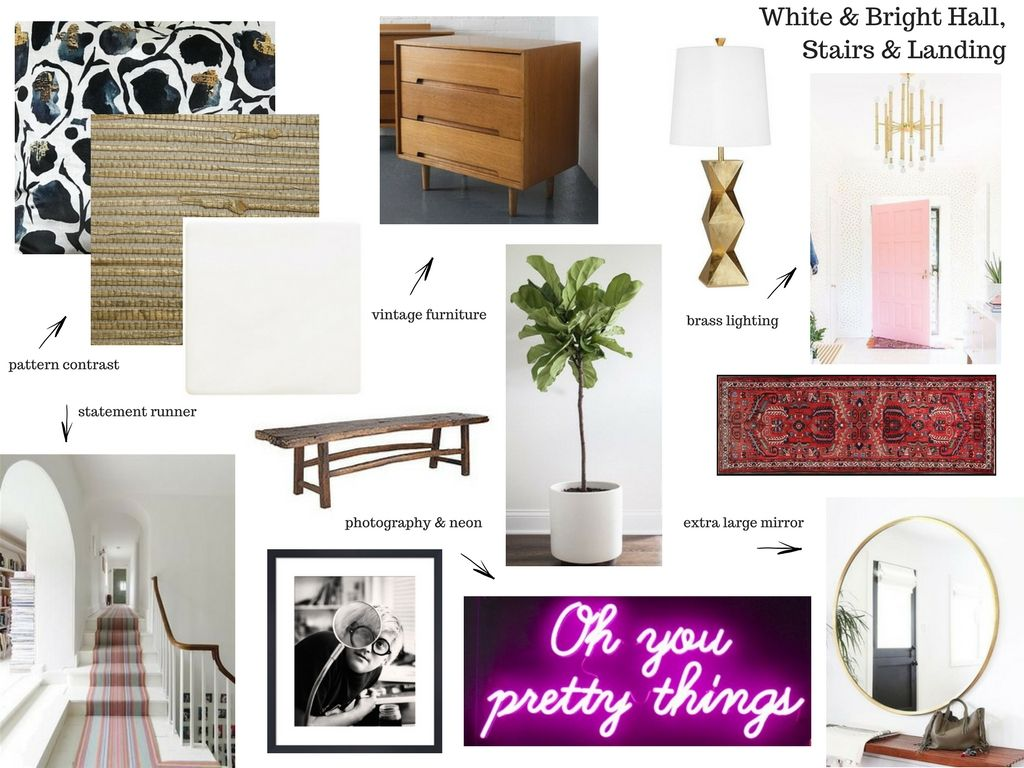 My hallway moodboard. Until I laid it all out on a board, it was impossible to see how it would all come together.