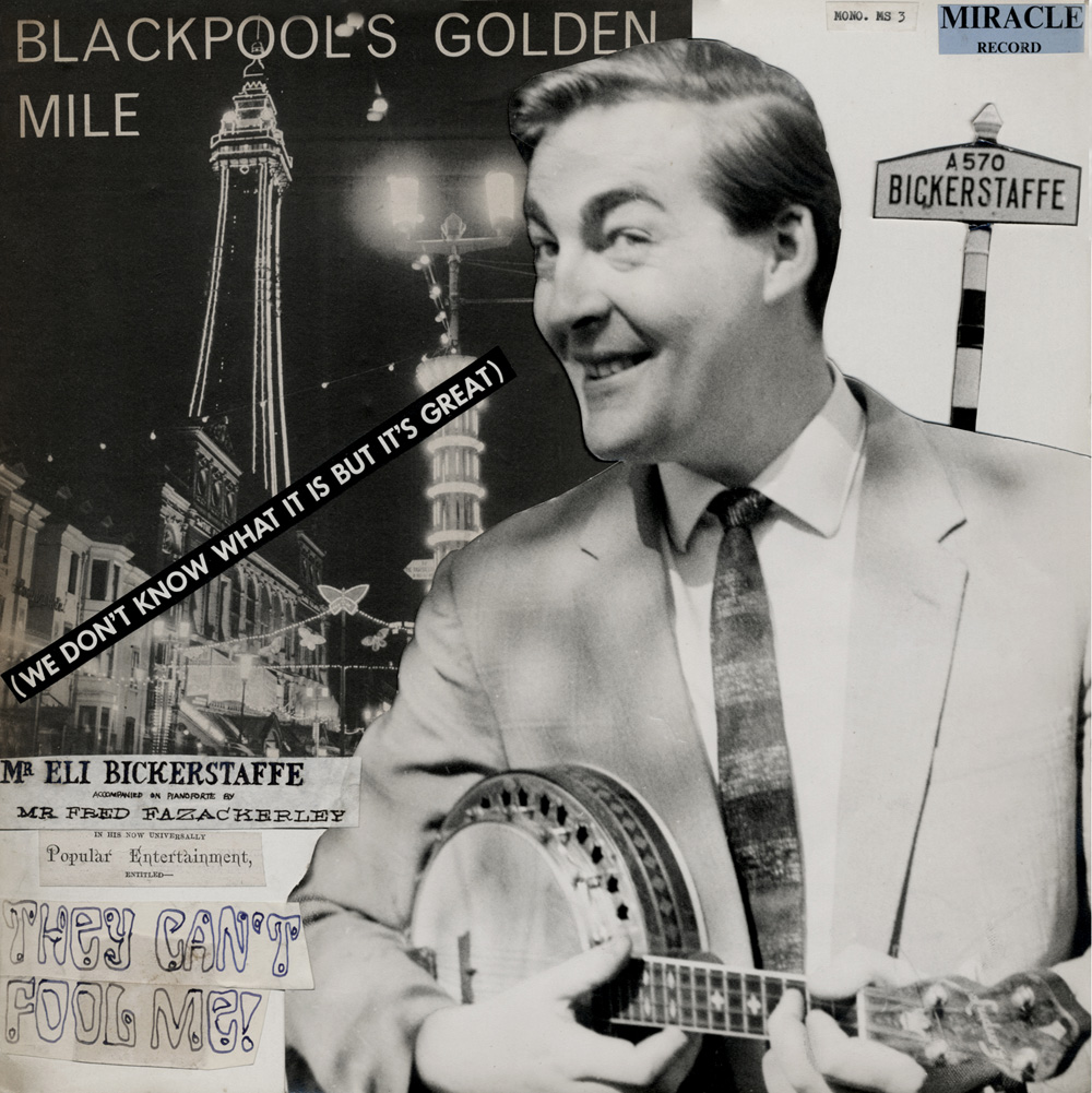 LP COVER FOR 'BLACKPOOL'S GOLDEN MILE' BY ELI BICKERSTAFFE: 'HE'S SO GOOD IT'S FRIGHTENING'