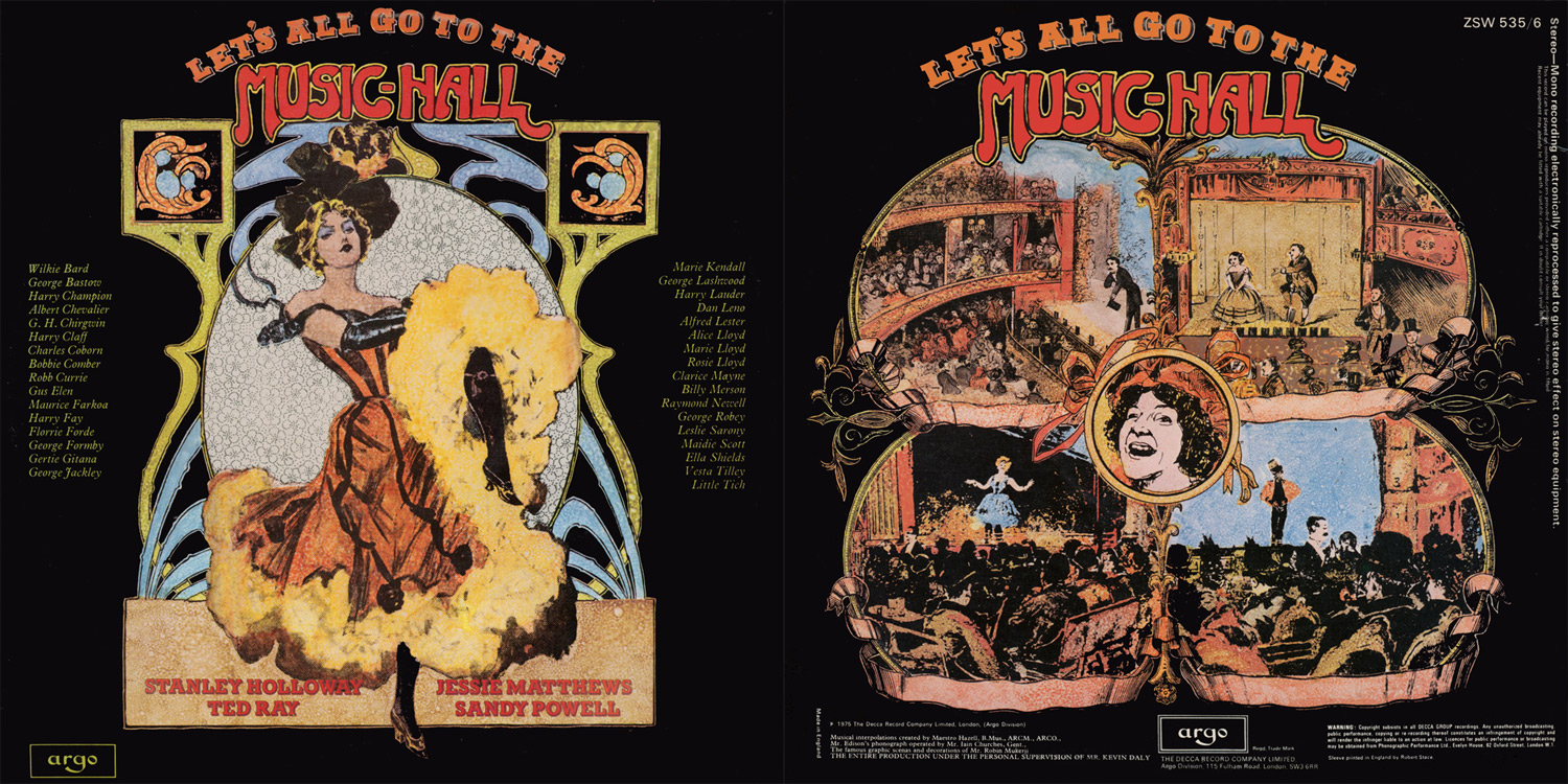 THE FRONT AND BACK COVERS, DESIGNED BY ROBIN MUKERJI, FOR THE DOUBLE-ALBUM 'LET'S ALL GO TO THE MUSIC-HALL'