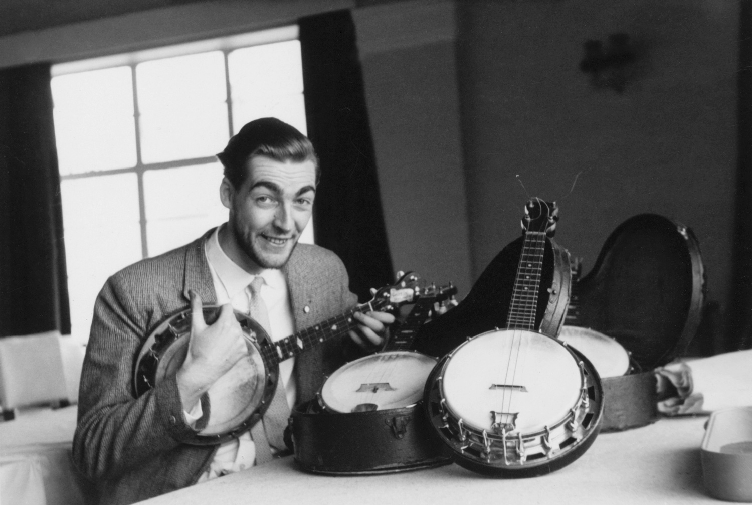 Kevin playing one of George Forby's ukuleles at the George Formby Society meeting in Blackpool, 16 December 1961