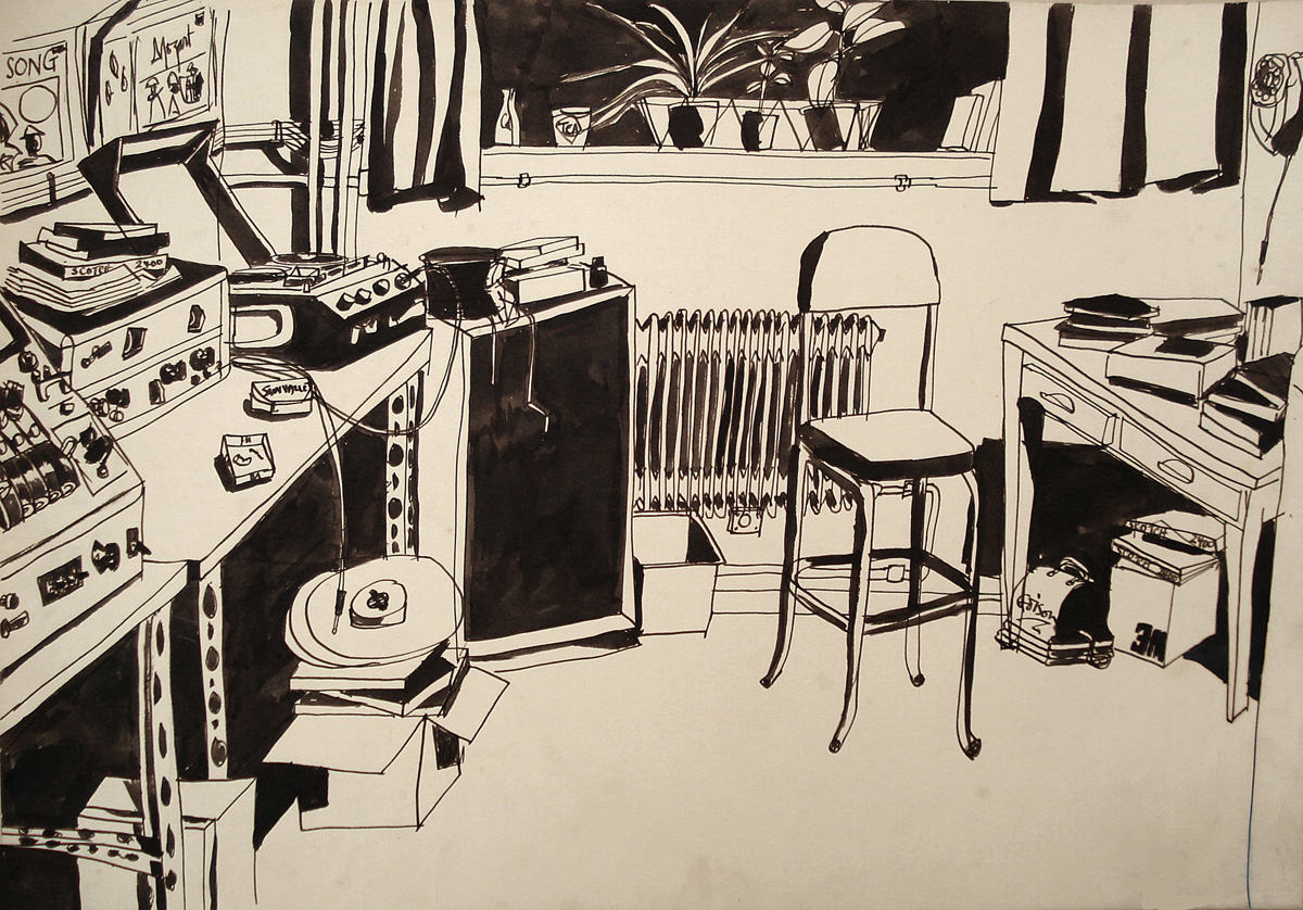 Kevin's drawing of the tape copying room, Decca Studios, early 1960s