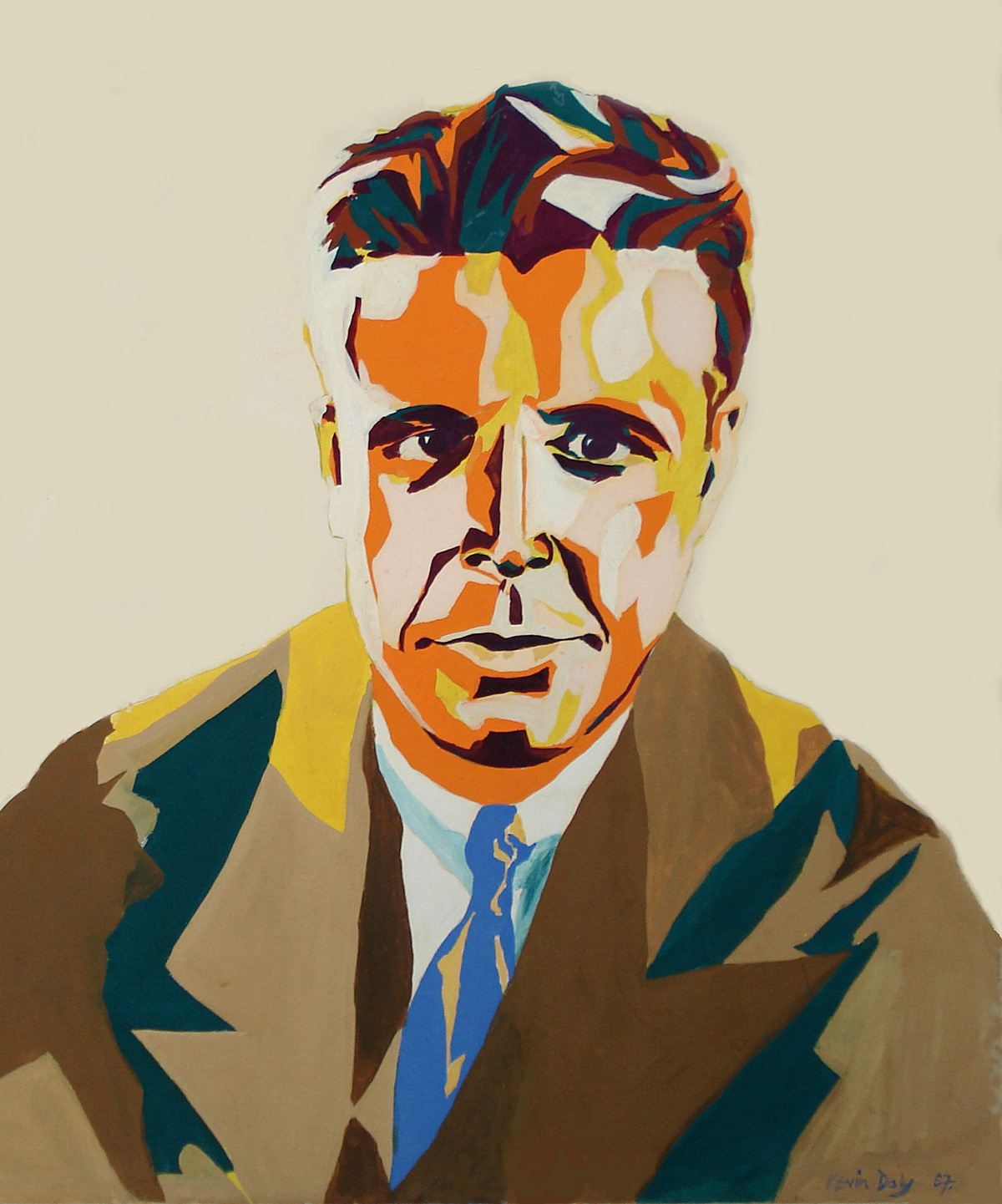 Kevin's painting of film star Dick Powell, 1967