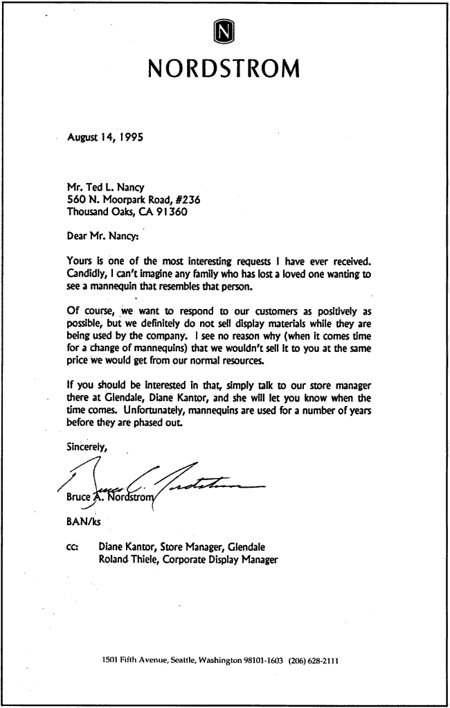 Nordstroms Replies - Bruce Nordstrom's actual response to Ted L. Nancy's request to buy a mannequin from him that looked just like his dead neighbor