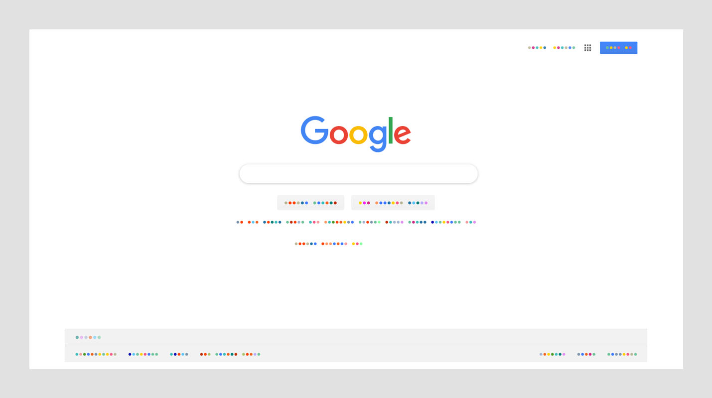 Google search screen using Color Dot extension