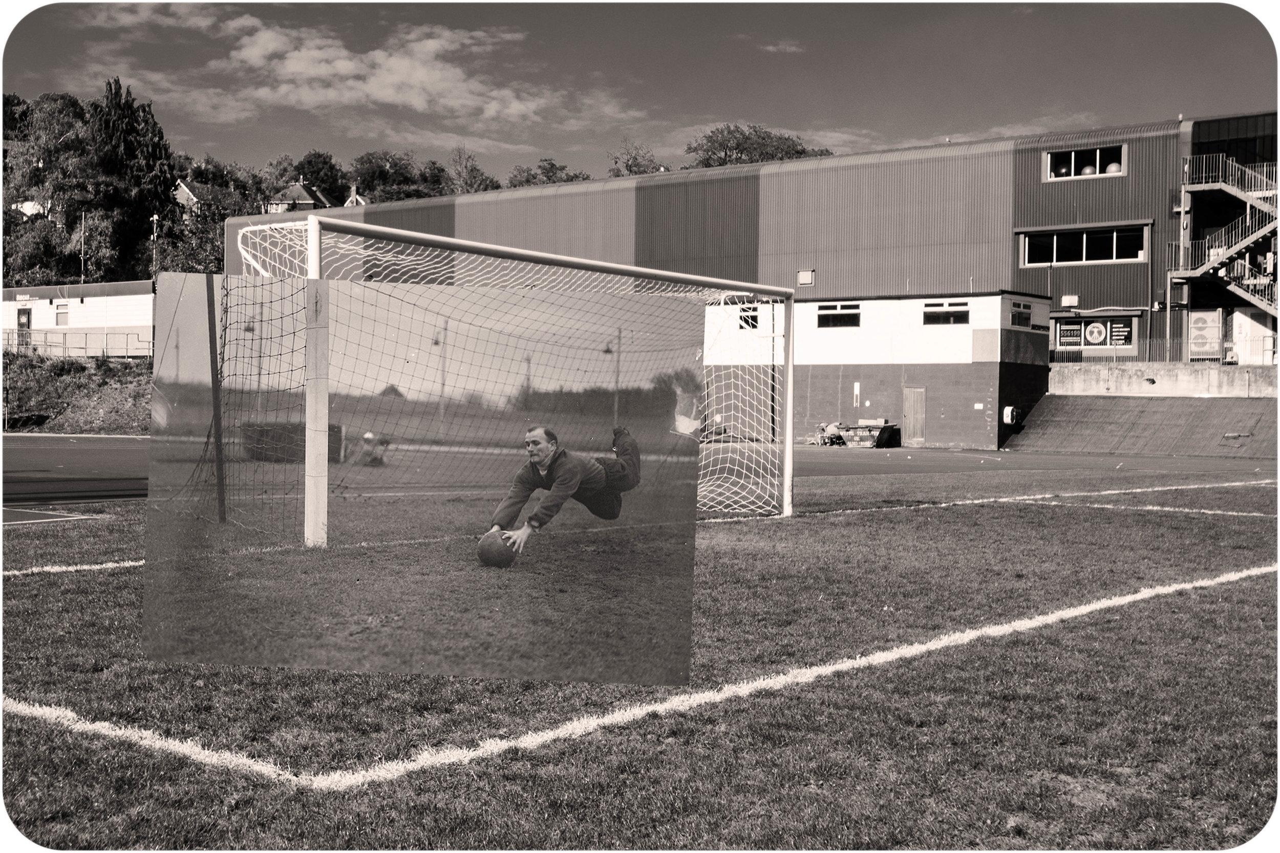 Playing goalie. Withdean Stadium. Brighton