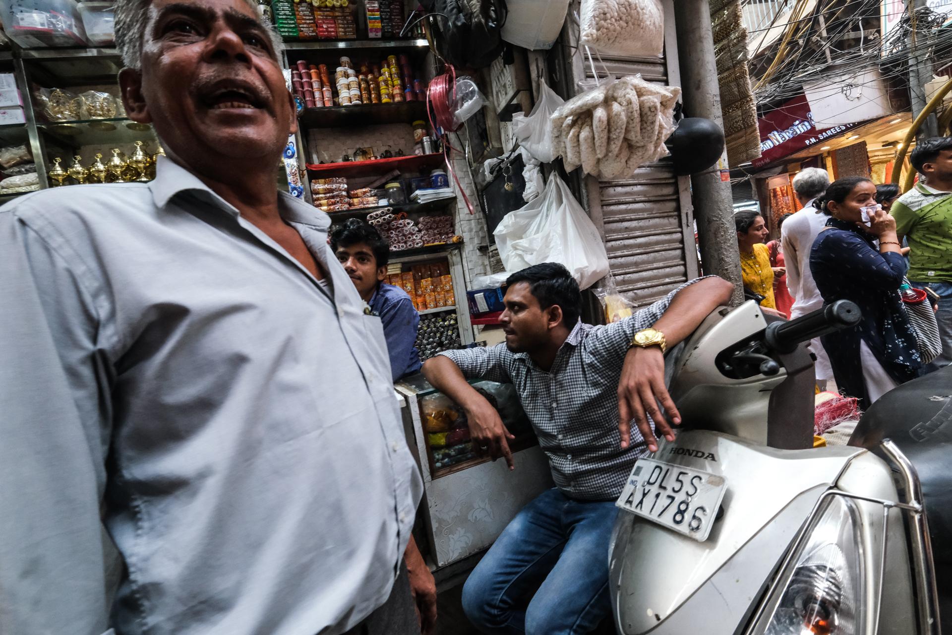 Rickshaw through the Old Delhi Market Stalls