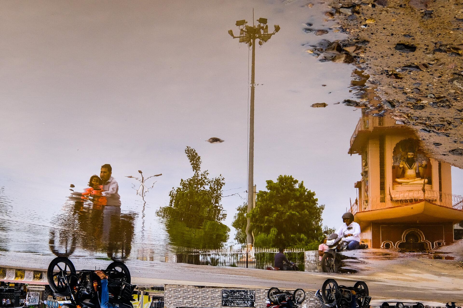 Pushkar Puddle. We brought rain to Pushkar