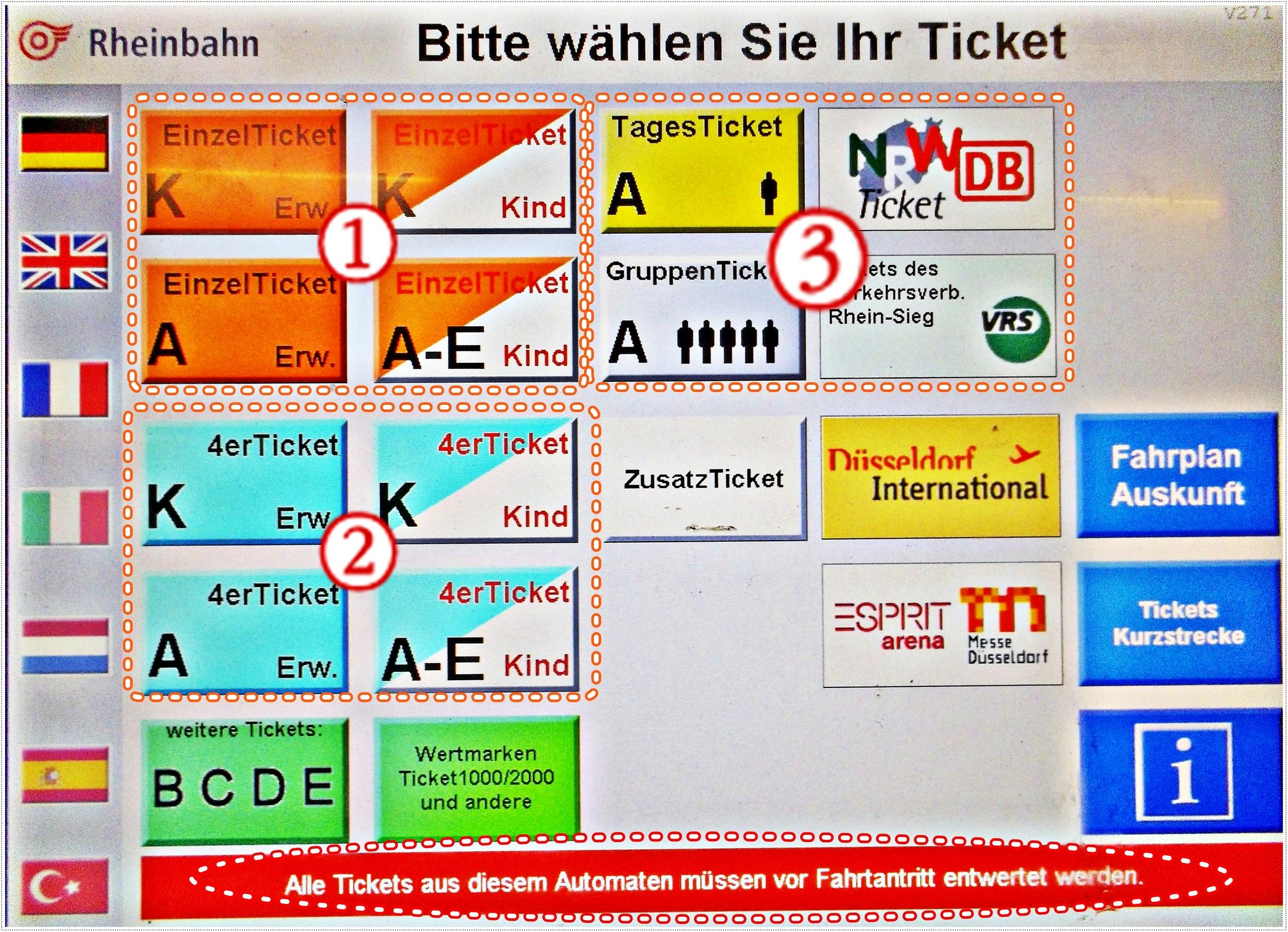 Билеты на проезд в общественном транспорте Дюссельдорфа
