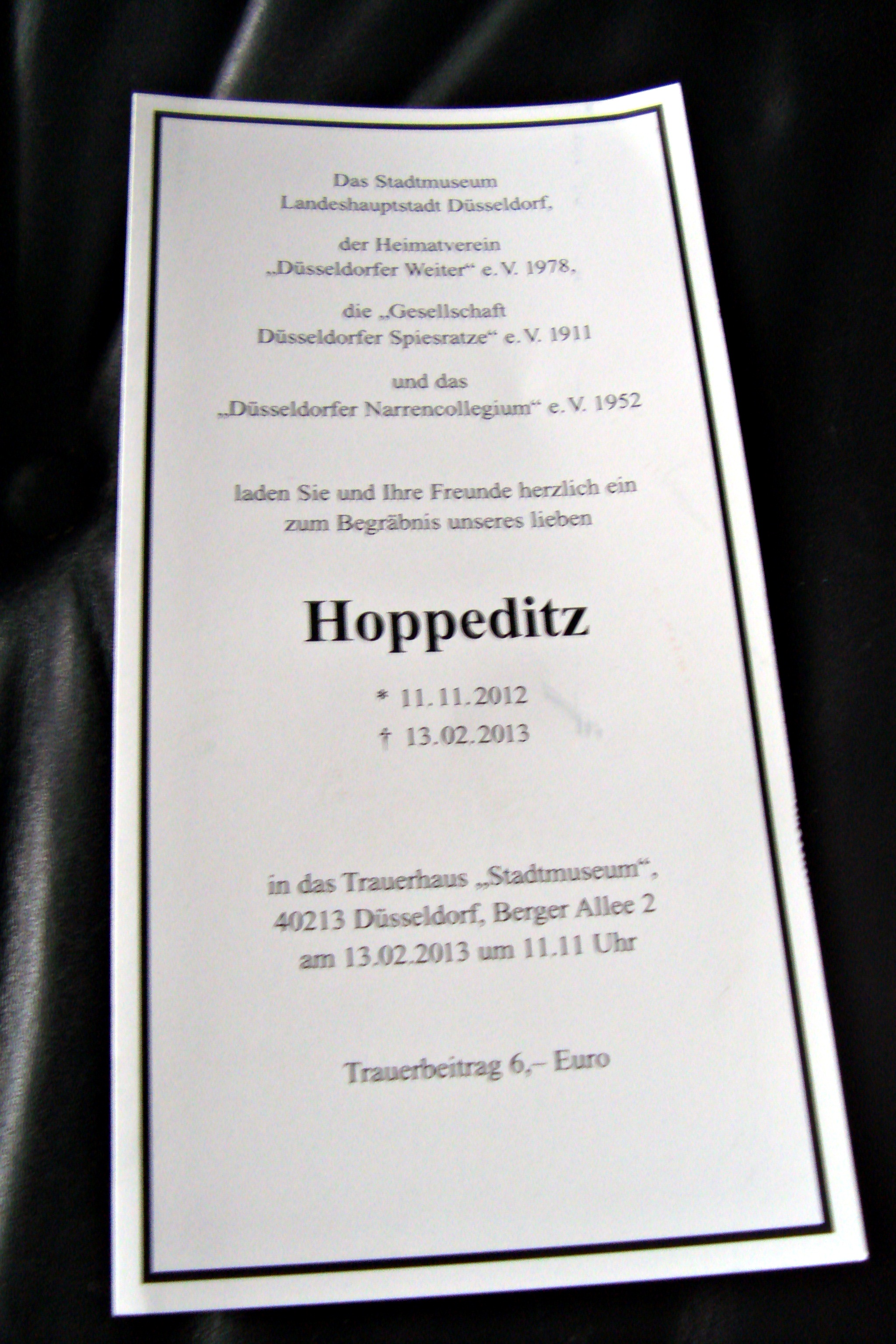 Приглашение на погребение шута в музей истории Дюссельдорфа