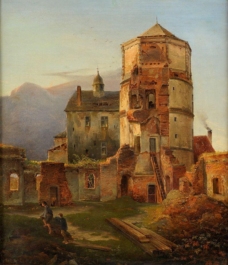 Картина с руинами замка Burgruinen,Carl Adloff (1840 - таким это место и Жуковский должен был видеть, и Боголюбов, и Шишкин)