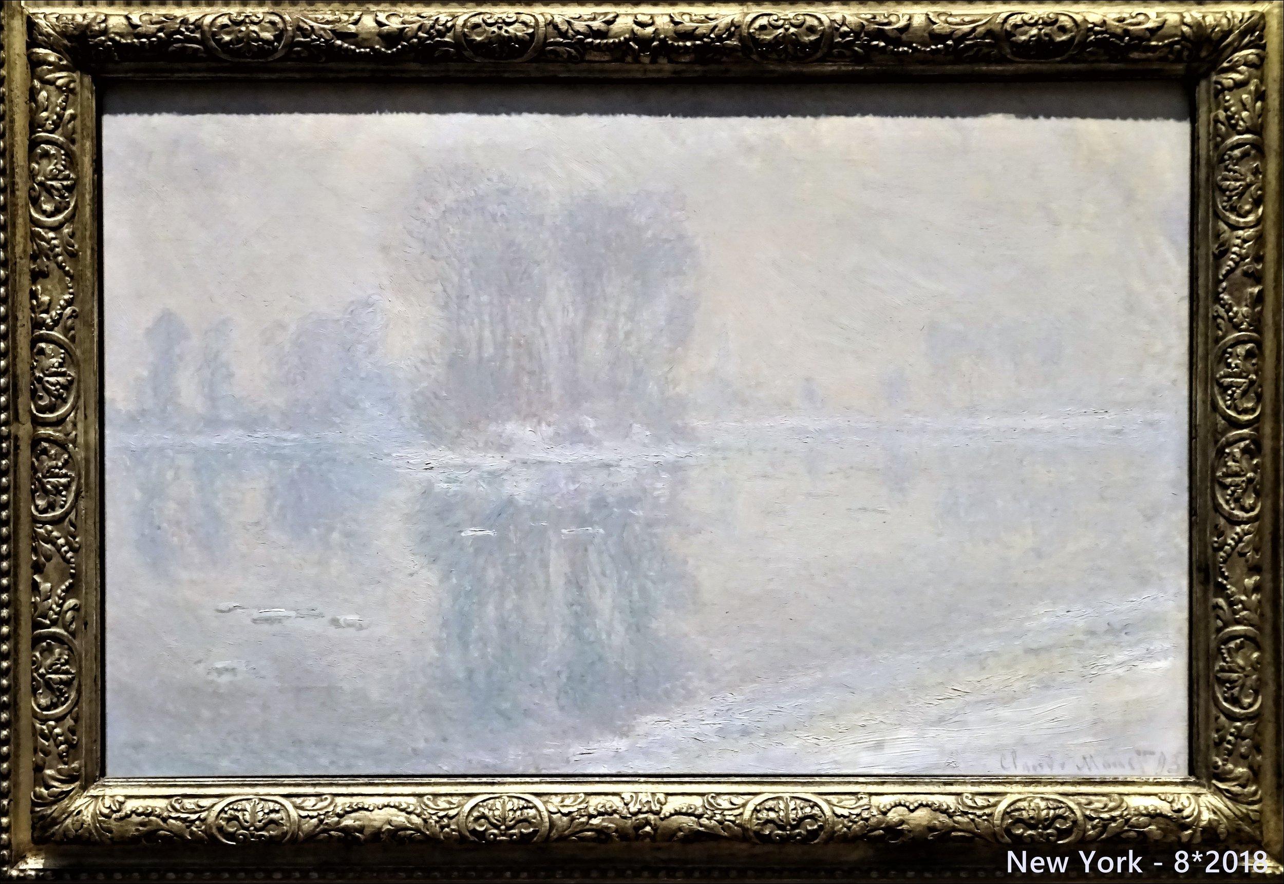 """А вот какое неяркое полотно Моне с ландшафтом близ  Живерни  я увидела в Метрополитен музее - ещё одна почти """"бесцветная"""" находка - масло на холсте, 66 x 100,3 см, картина 1893 года."""