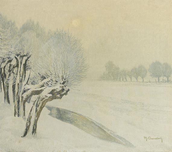 """Max Clarenbach - 1930 """"Зимнее солнце и иней"""" в Дюссельдорфе-виттлаере."""