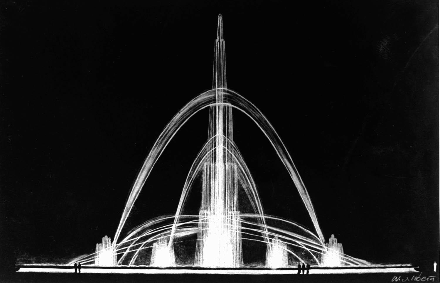 """Аква-цвето-музыка (водный """"орган"""") - светоинсталляция на выставке 1937 года"""