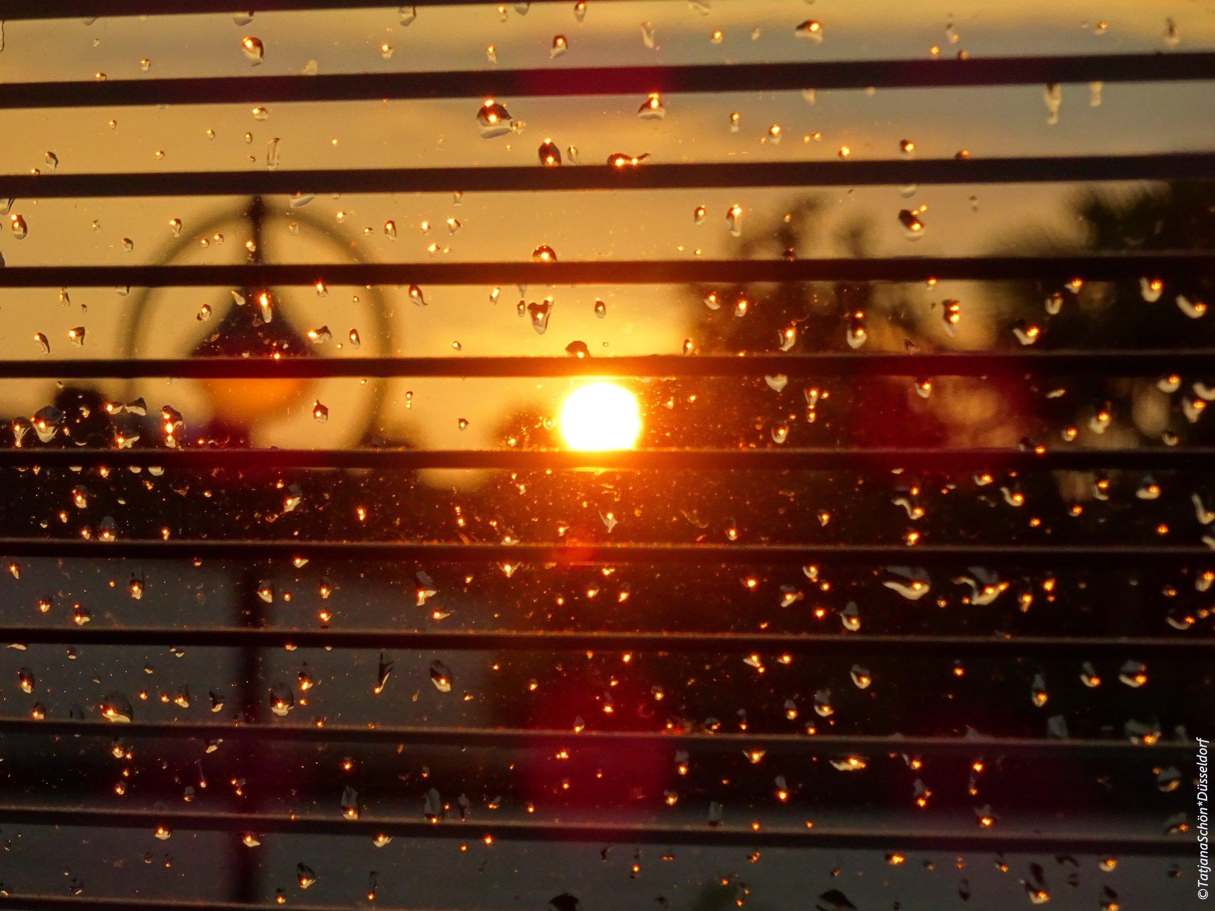 Вид из моего кухонного окна, апельсиновый закат над югом Дюссельдорфа, после летнего ливня.