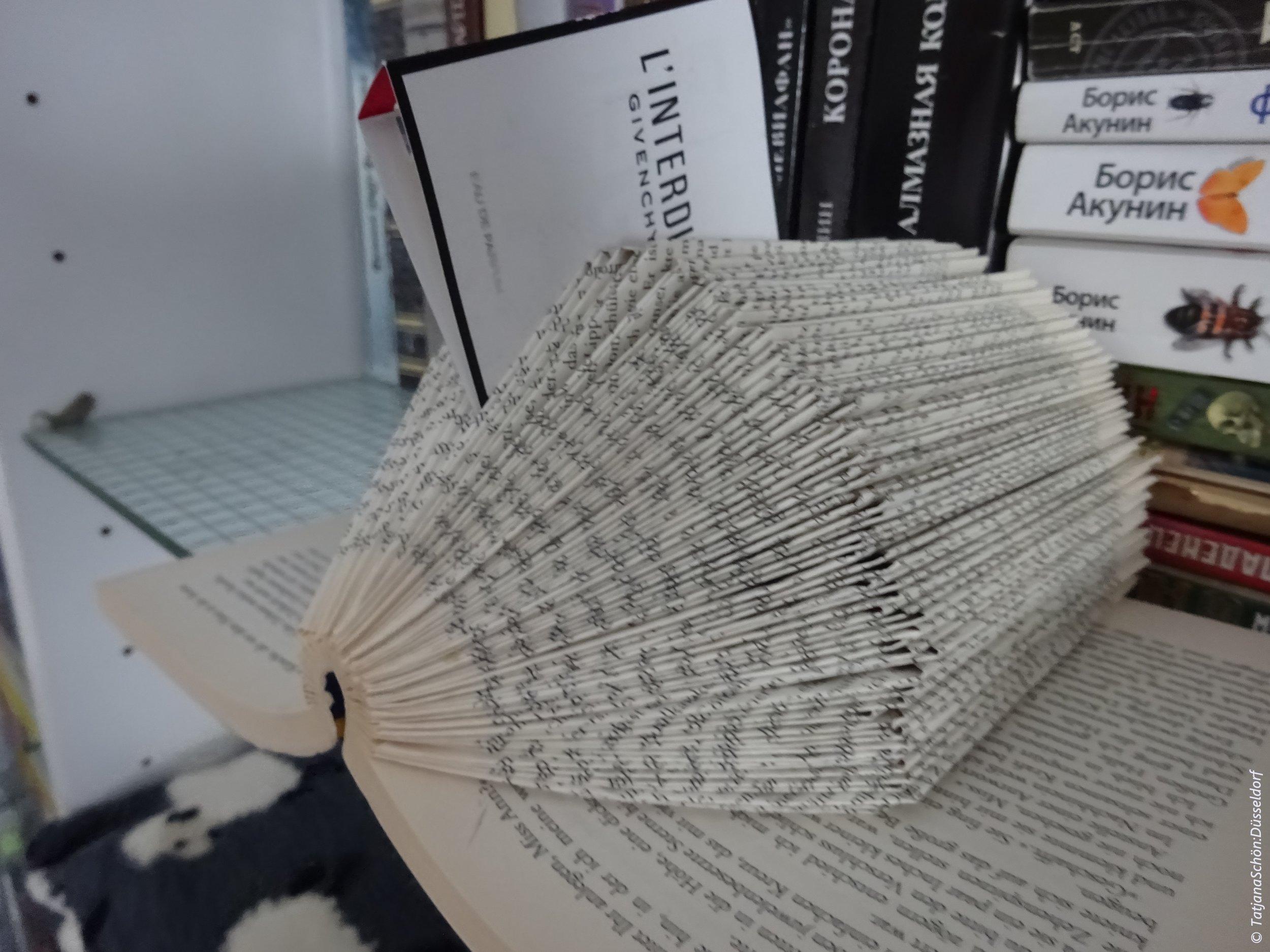 Книга из местной библиотеки, которая никому больше не нужна, выёжившись, превращена в держатель записок и мелочей.