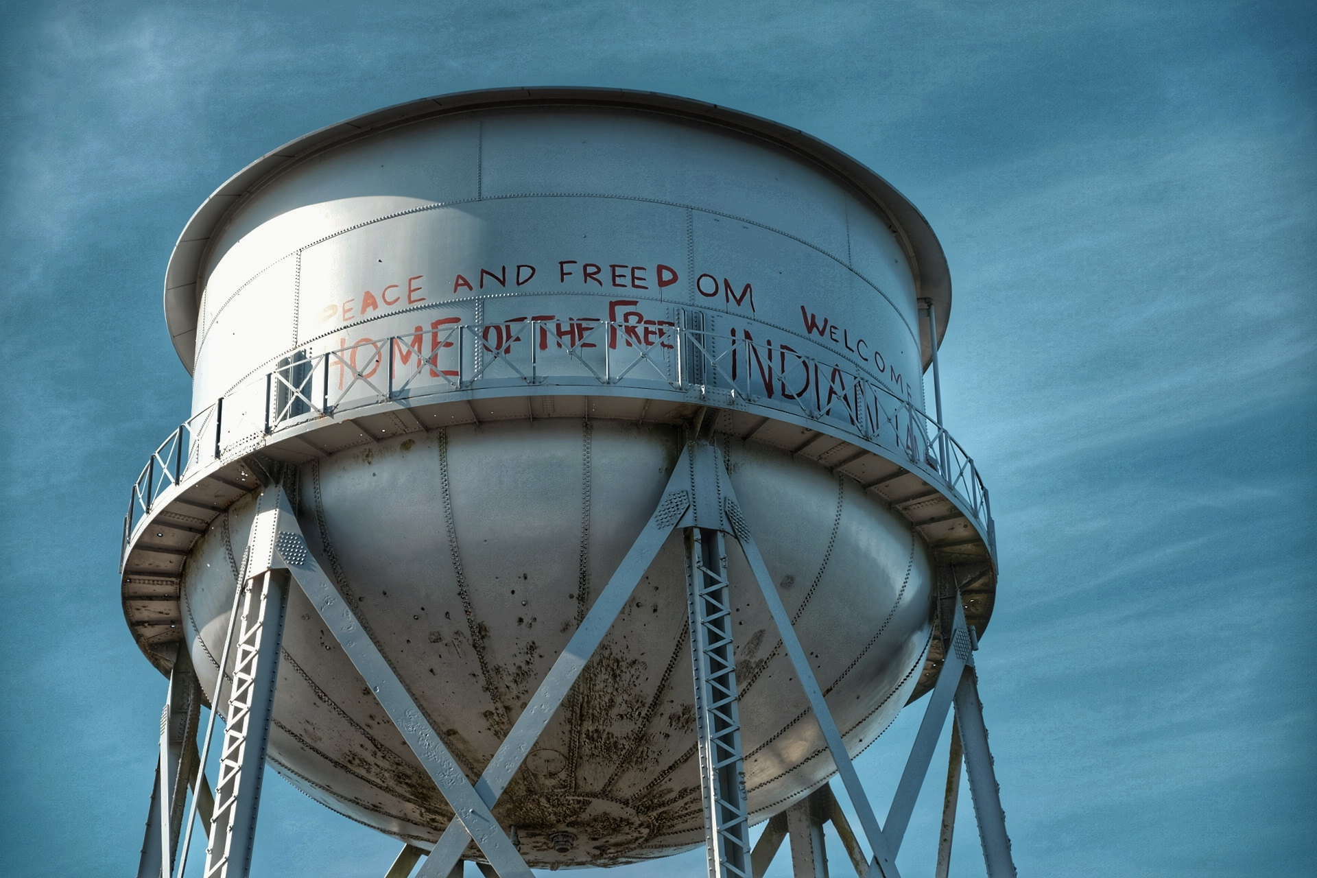 """Water tower on """"the Rock""""."""
