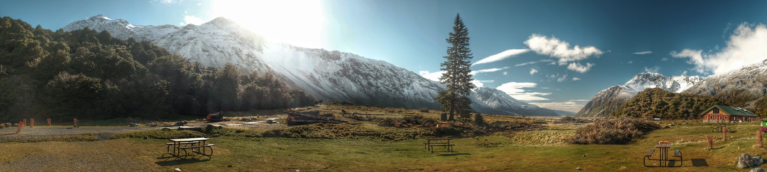 View from the campsite at Mount Cook village.