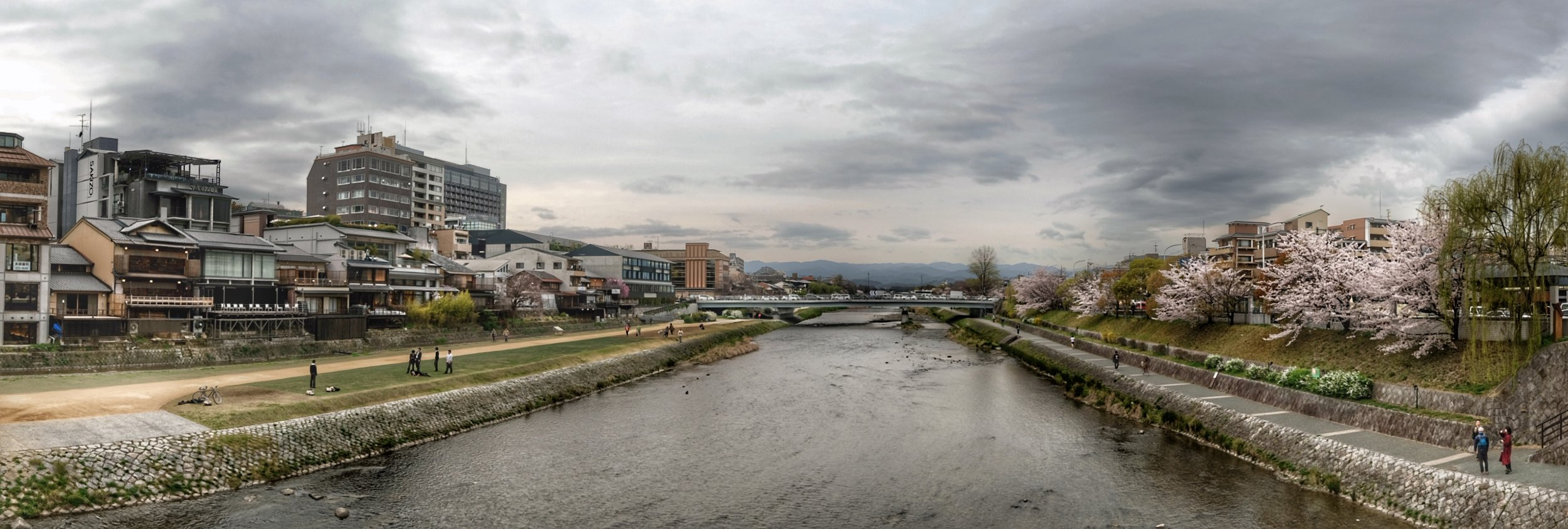 View of Kyoto along the Kamo river.