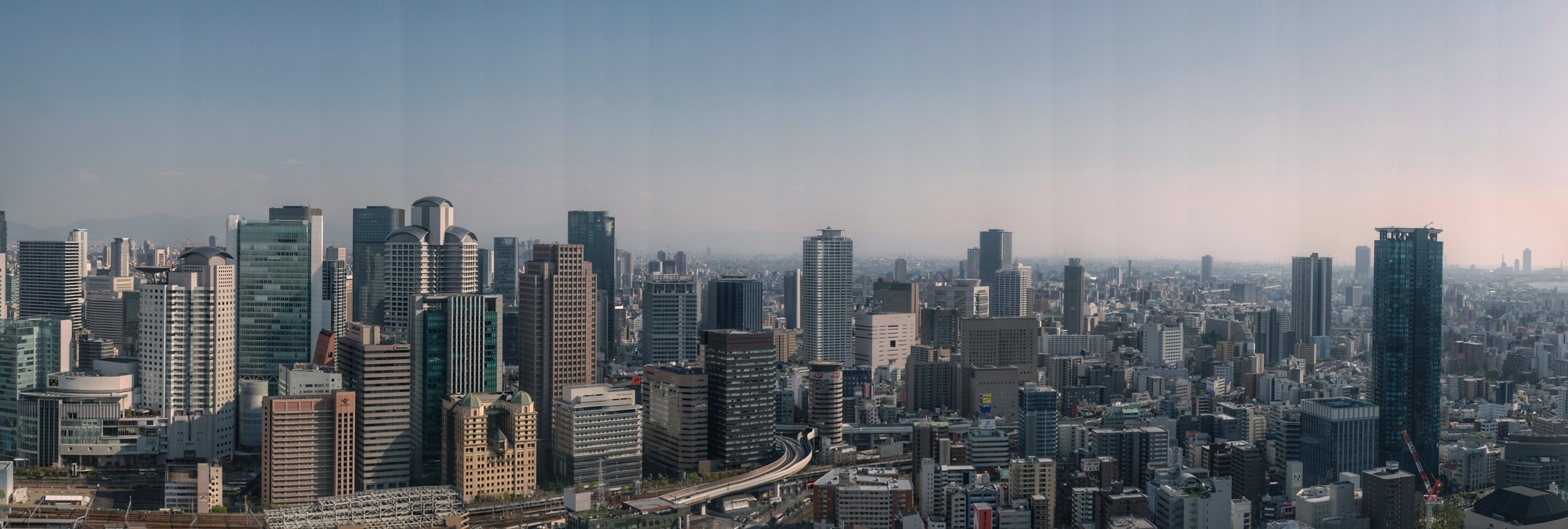 View of Osaka from the Sky building observatory.