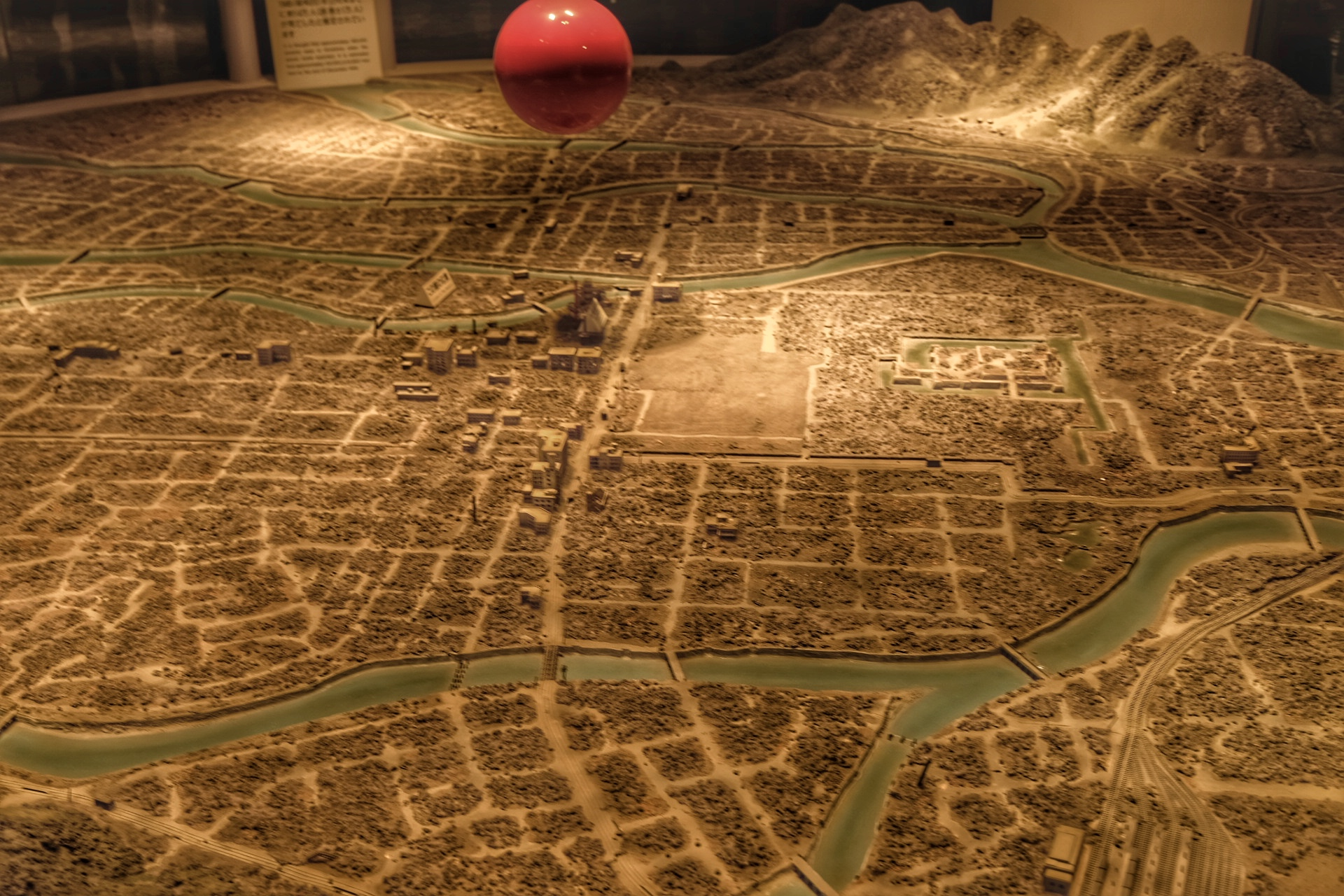 1:1000 scale model of the destruction of Hiroshima by the atomic bomb (Little Boy).