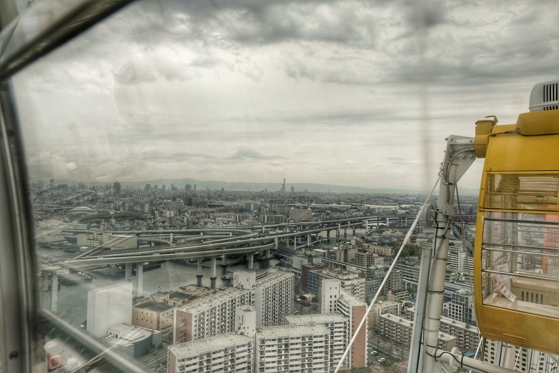 View of Osaka from the Tempozan Ferris Wheel.