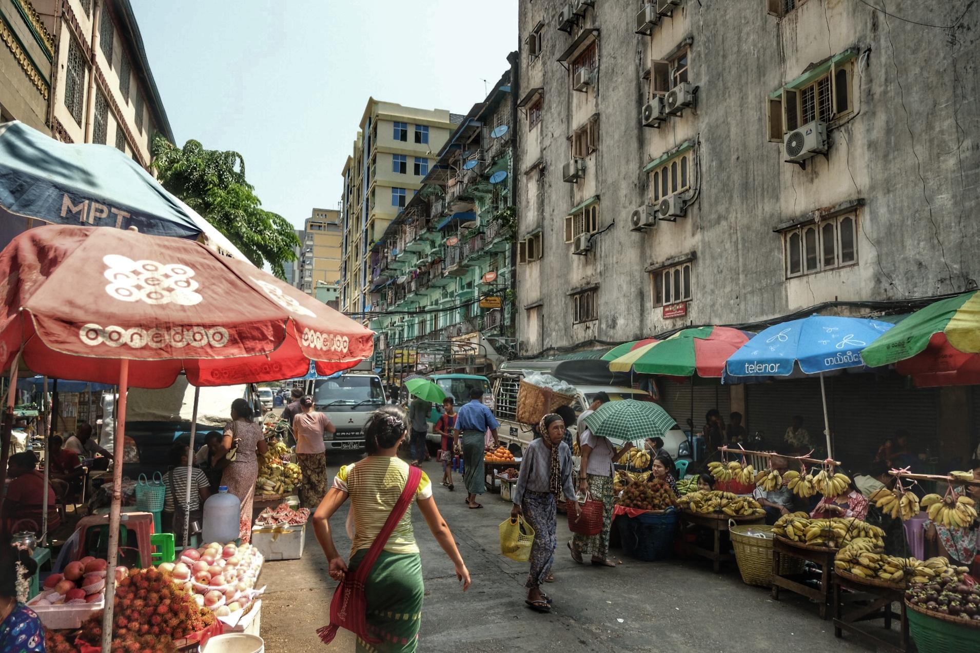 One of the many Yangon street markets.