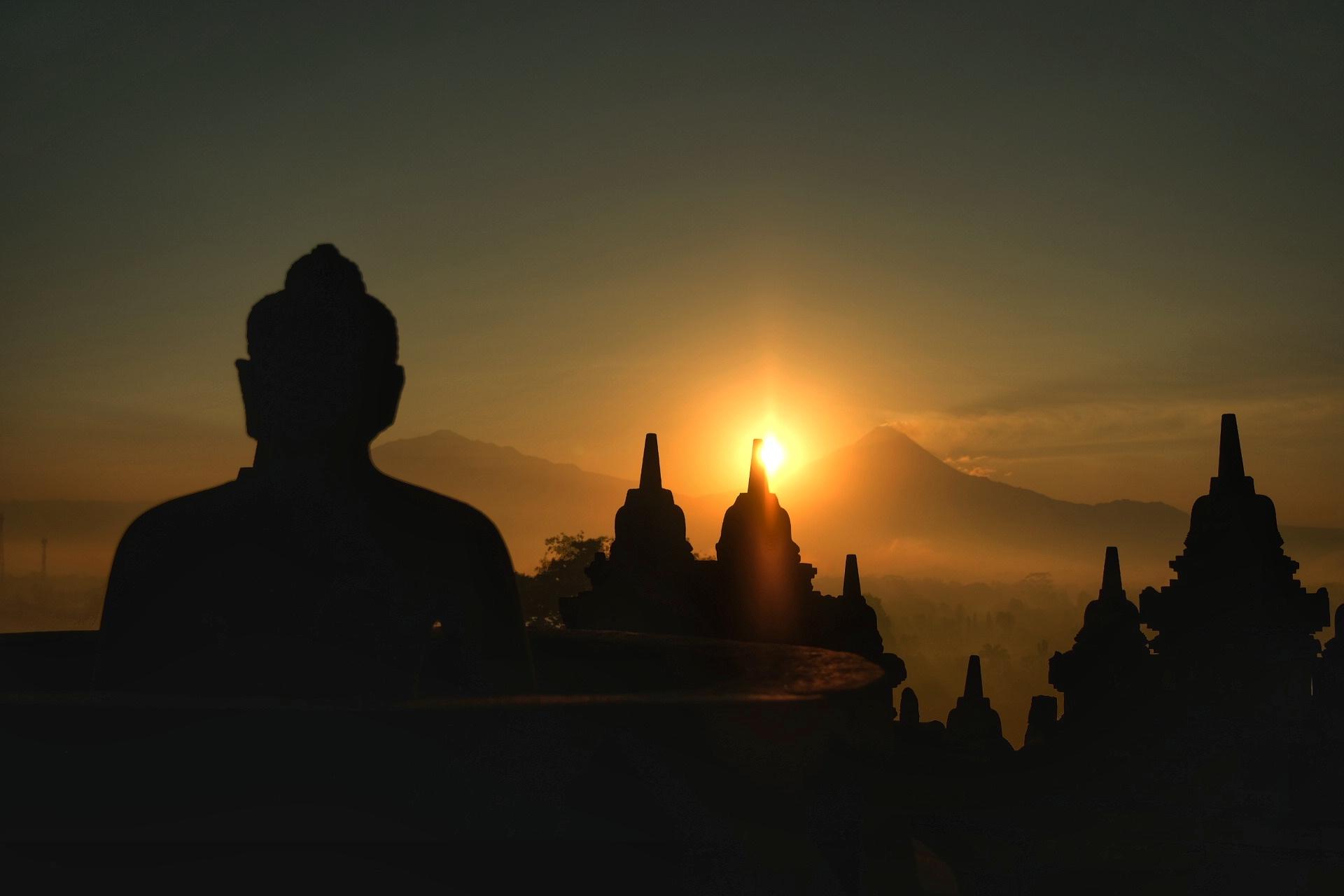 Sunrise at Borobudor Temple.