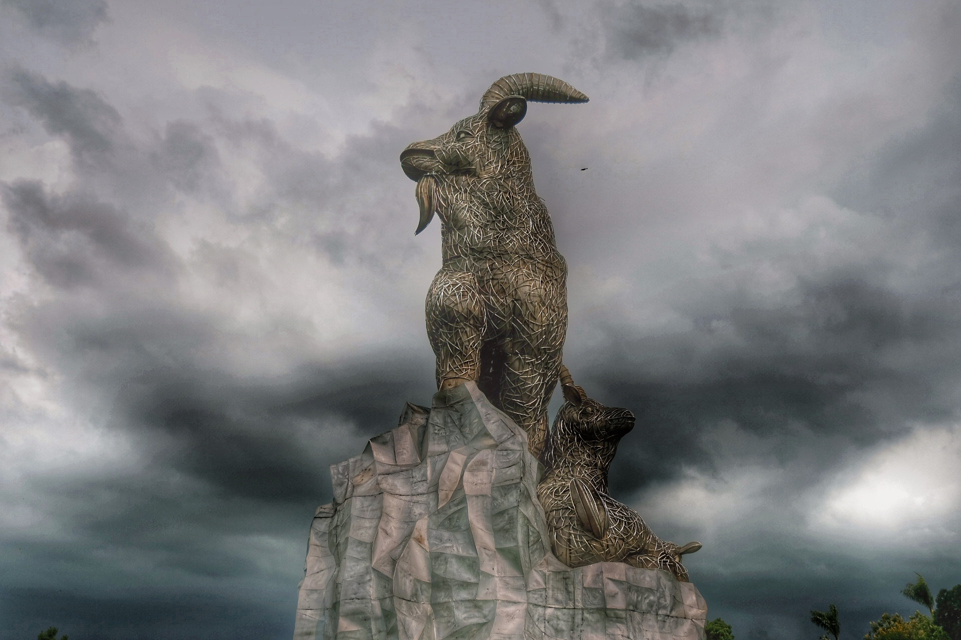 Statues of Mountain Goats in Taichung Park.